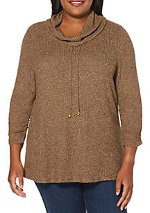 Plus Size Cowl Neck 3/4 Sleeve Sweater