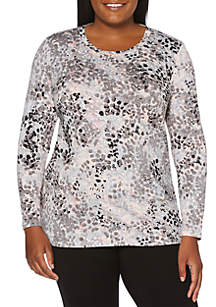 Plus Size Spot Printed Jersey Top