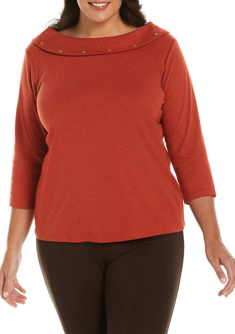 Plus Size Solid Boat Neck Sweater