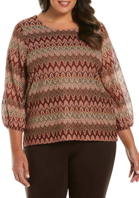 Plus Size Novelty Embroidered Top