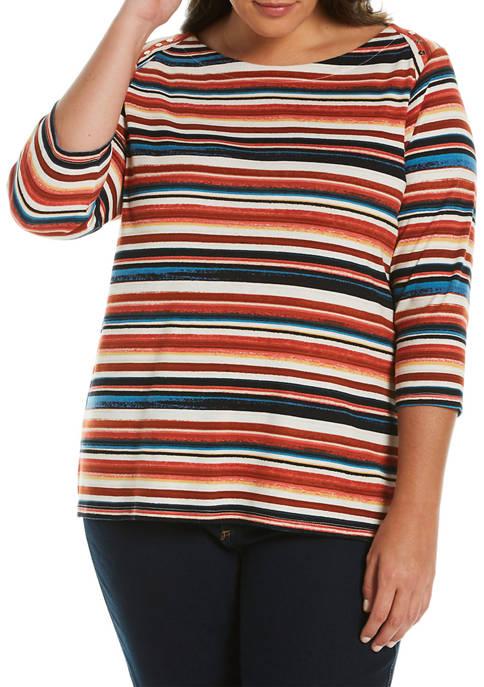 Plus Size Painterly Stripe Top