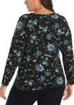 Plus Size Floral Print Knit Top