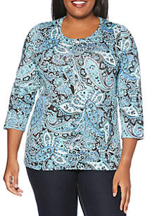 Plus Size Ornate Paisley Modal Top