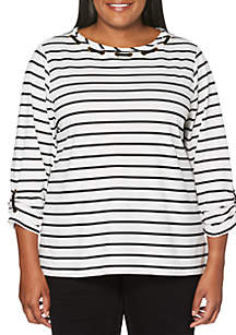 2d576dca2be44 ... Rafaella Plus Size Embroidered Striped Knit Top