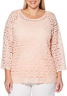 Rafaella Plus Size Chemical Lace Knit Top