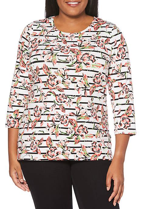 Plus Size Floral Stripe Modal Top
