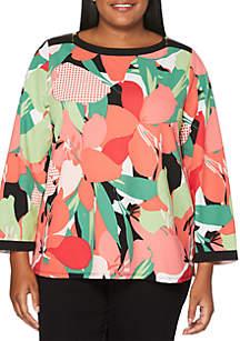 Plus Size Floral Print Framed Knit Top