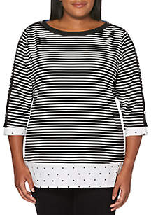 Plus Size Striped 2Fer Top