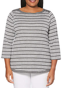 Plus Size Rugby Feeder Stripe Tee
