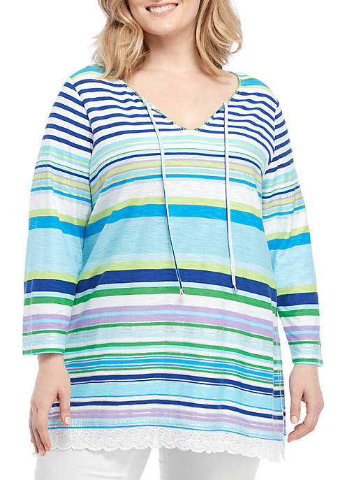 Rafaella Plus Size Obscure Stripe Embroidered Tunic Top