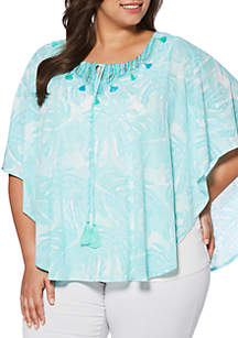Plus Size Tropical Leaves Tasseled Butterfly Top