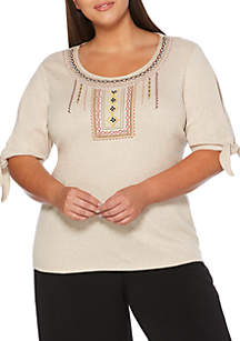 Plus Size Embroidery Tie Sleeve Top
