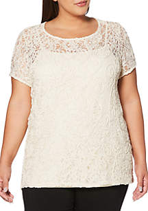 Plus Size Corded Lace Top