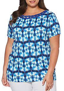 Plus Size Tie-Dye Corded Short Sleeve Top