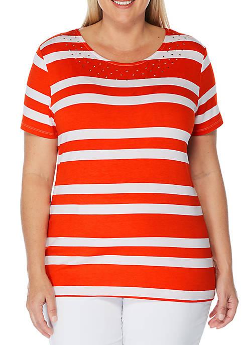 Rafaella Plus Size Short Sleeve Striped Modal T