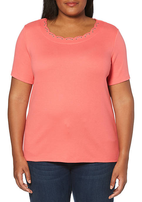 Rafaella Plus Size Solid T Shirt