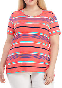 Rafaella Plus Size Short Sleeve Stripe T Shirt