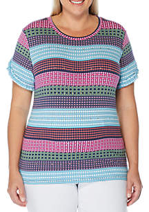 Rafaella Plus Size Short Sleeve Print Geo Modal T-Shirt