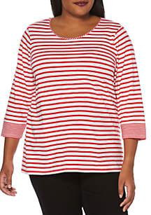 Rafaella Plus Size Feeder Stripe Top