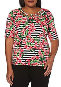 Rafaella Plus Size Printed Blossom Stripe Top
