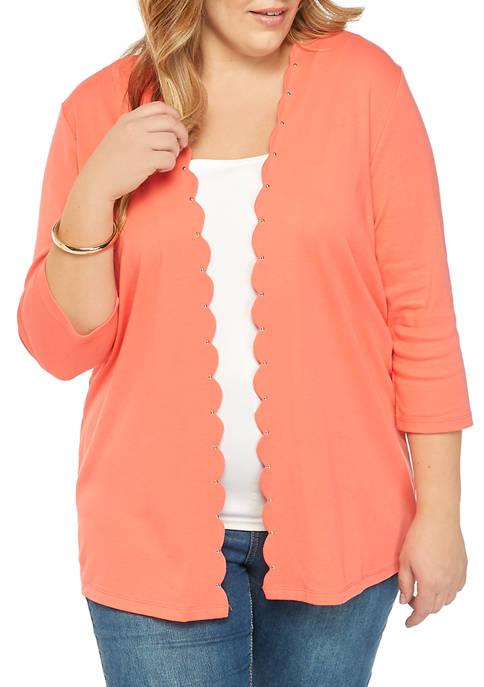 Rafaella Plus Size 3/4 Sleeve Scalloped Cardigan