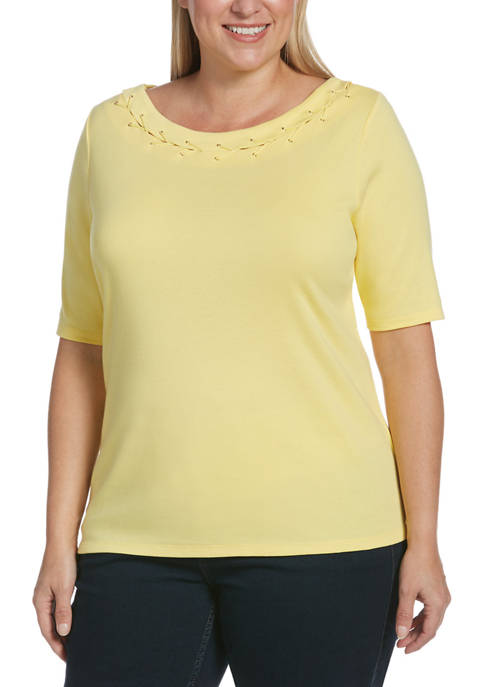 Plus Size Elbow Sleeve Laced Eyelet Trim Top