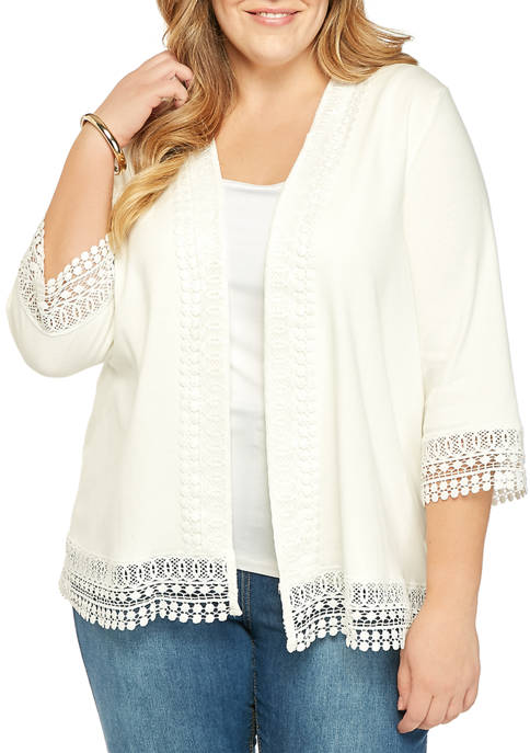 Plus Size 3/4 Sleeve Lace Cardigan
