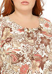 Plus Size Floral Paisley Top with Bead Hardware
