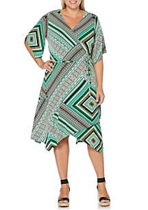 Rafaella Plus Size Elbow Sleeve Printed Knit Dress