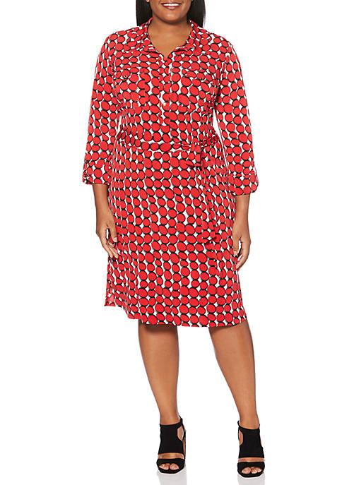 Rafaella Plus Size A Line Circle Print Dress