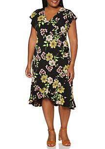 Rafaella Plus Size Floral Ruffle A Line Dress