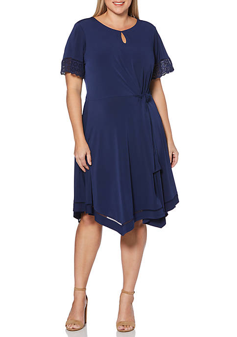 Plus Size Short Sleeve Solid Dress