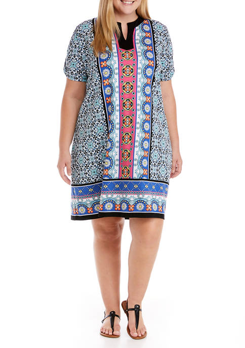 Plus Size Short Sleeve Printed Dress