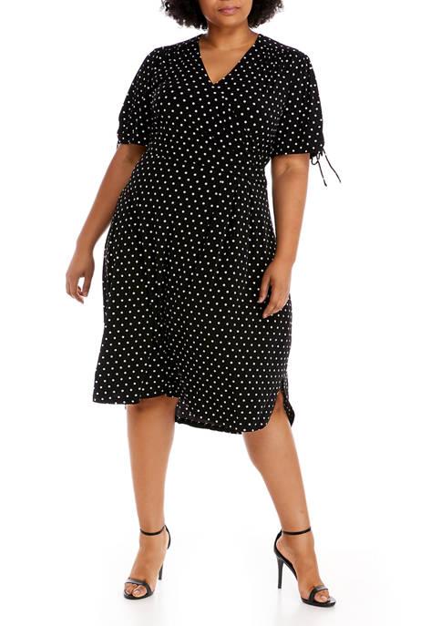 Rafaella Plus Size Short Sleeve Dot High Low