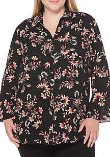 Plus Size Tossed Floral Print Long Tunic