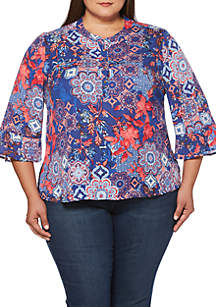 Plus Size Mosaic Floral Print Flare Sleeve Blouse