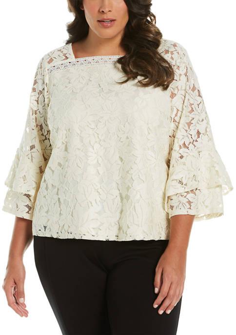 Plus Size Flounce Sleeve Lace Top