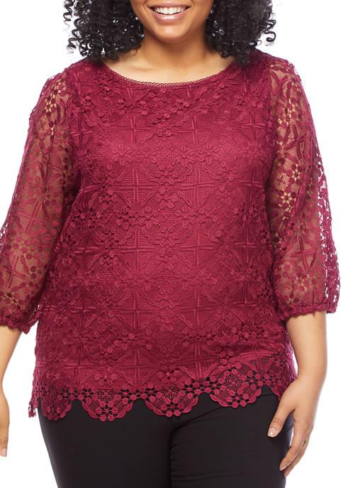 Plus Size 3/4 Blouson Sleeve Scallop Trim Lace Top