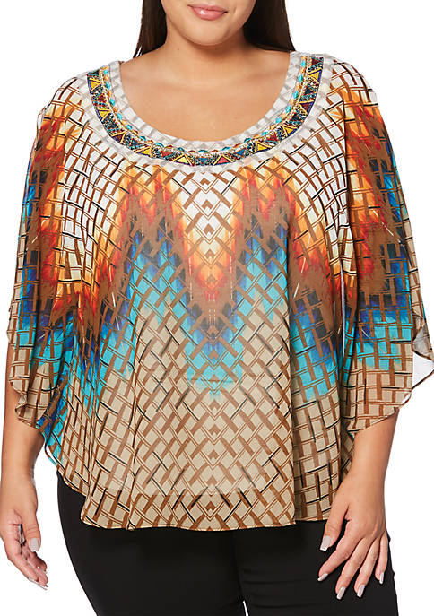Rafaella Plus Size Multi Beaded Butterfly Top