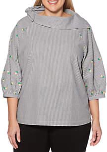 Rafaella Plus Size Pullover Striped Poplin Top
