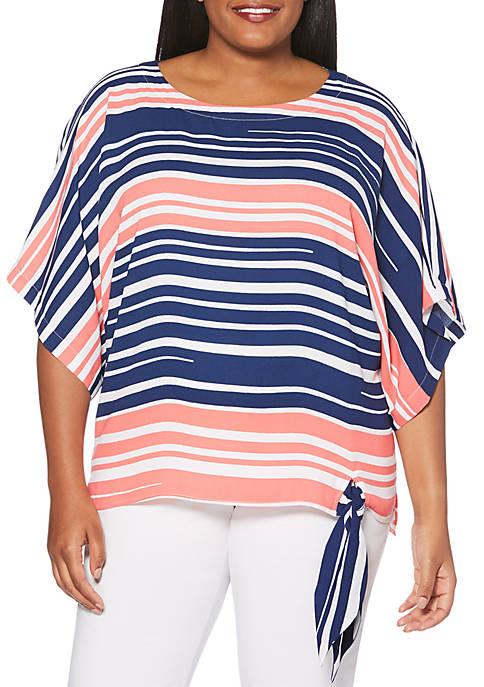 Plus Size 3/4 Sleeve Stripe Dolman Top