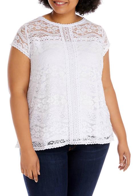 Plus Size Short Sleeve Lace Top