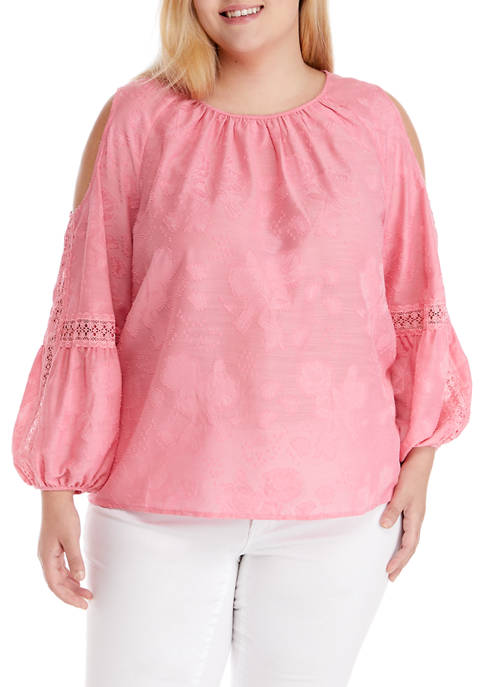 Rafaella Plus Size Cold Shoulder Top