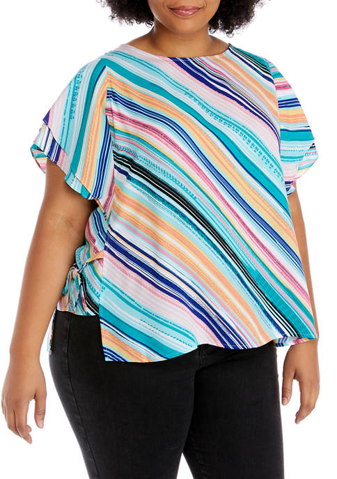 Plus Size Short Flutter Sleeve Stripe Top