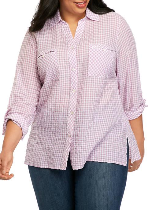 Rafaella Plus Size Long Sleeve Gingham Shirt