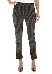Petite Windowpane Skinny Ankle Pants