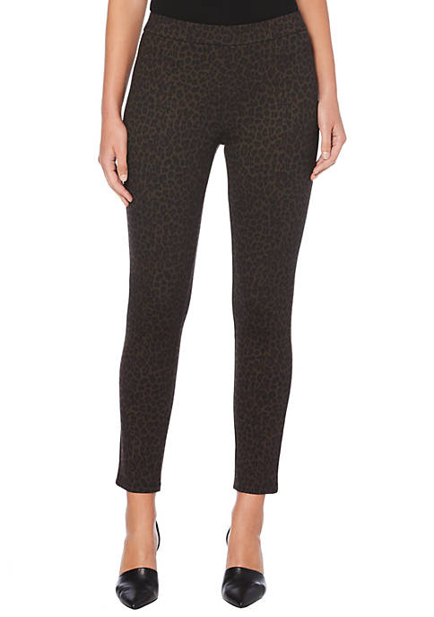 Rafaella Petite Animal Print Ponte Straight Pants