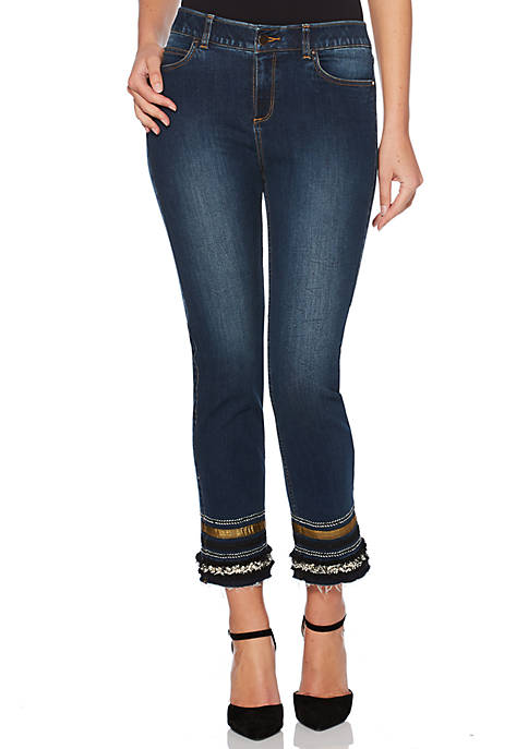 Rafaella Petite Ankle Straight Hem Detail Denim Jeans