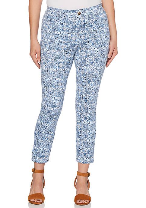 Rafaella Petite Cotton Twill Mosaic Denim Pants