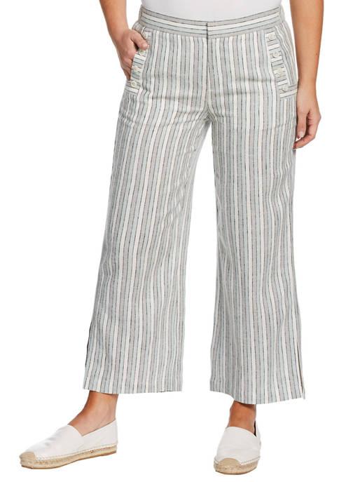 Rafaella Petite Yarn Dye Linen Cropped Pants